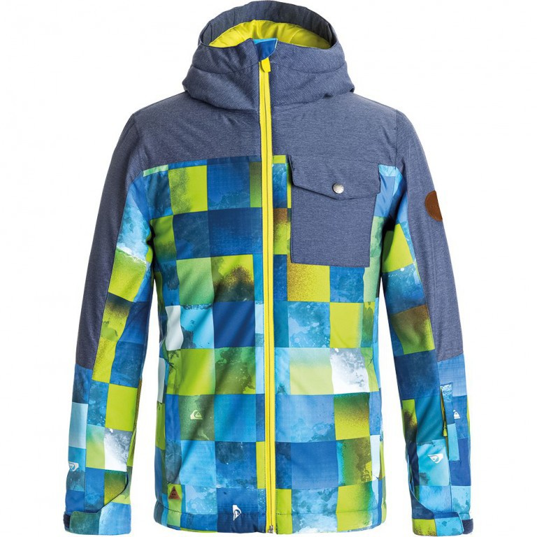 Куртка QUIKSILVER MISSION BLOCK YOUTH, Blue Sulphur Icey Check